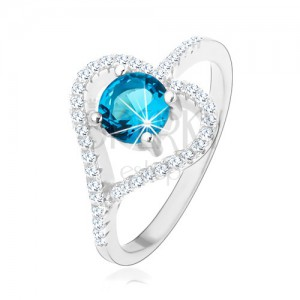 Zásnubný prsteň zo striebra 925, zirkónový obrys srdca, modrý zirkón