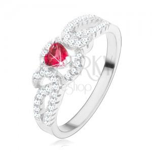 Strieborný prsteň 925, zatočené zirkónové línie, červený srdcový zirkón