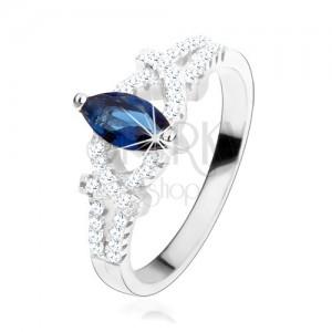 Zásnubný prsteň, striebro 925, zrnko z tmavomodrého zirkónu, trblietavé oblúky