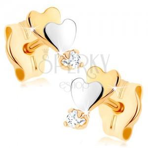 Zlaté náušnice 375 - malé ploché srdiečka, zrkadlový lesk, číry zirkón