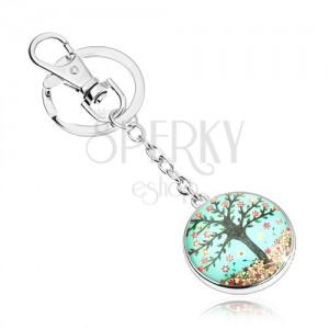 Kabošon kľúčenka, kruh s vypuklým sklom, strom, pestrofarebné kvety