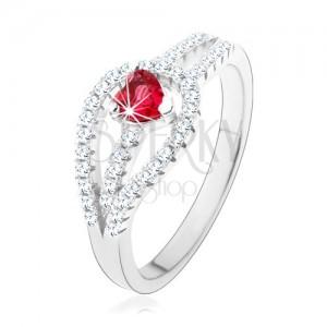 Strieborný prsteň 925, rozdvojené zirkónové ramená, červené srdiečko