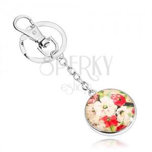Prívesok na kľúče v štýle kabošon, vypuklé sklo, biele a červené kvety
