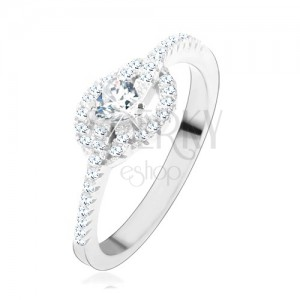 Zásnubný prsteň zo striebra 925, číre zirkónové srdce, zatočené línie