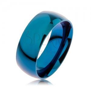 Obrúčka z ocele 316L, modrá farba, anodizovaná titánom, 8 mm