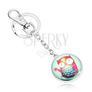 Cabochon kľúčenka, transparentná vypuklá glazúra, farebná sova s hrnčekom