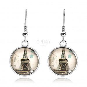 Náušnice s čírym vypuklým sklom, Eiffelova veža, béžový podklad