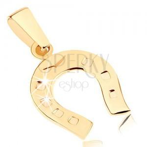 Zlatý prívesok 375 - ligotavá podkovička pre šťastie, gravírované bodky