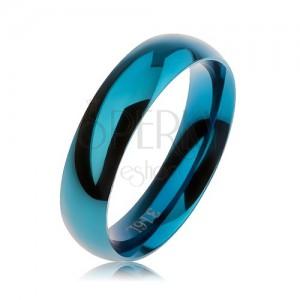 Modrá oceľová obrúčka, hladký zaoblený povrch, vysoký lesk, 5 mm