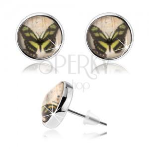 Cabochon náušnice, číra glazúra, obrázok motýľa, puzetky