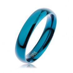Prsteň z ocele 316L modrej farby, hladký zaoblený povrch bez vzoru, 4 mm