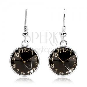 Náušnice cabochon, vypuklé sklo, hodinky - čierny podklad, afroháčiky