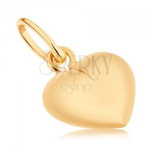 Prívesok zo žltého 9K zlata - obojstranne vypuklé srdiečko, vysoký lesk