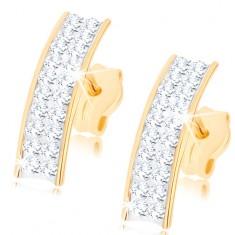 Šperky eshop - Náušnice zo žltého 9K zlata, trblietavý oblúk zo Swarovského krištáľov GG79.12