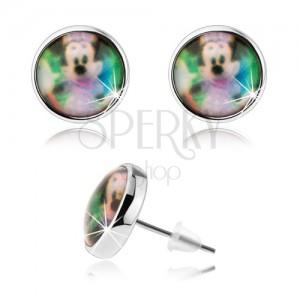 Puzetové náušnice cabochon, číra glazúra, farebný obrázok Minnie Mouse