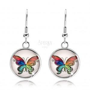 Náušnice cabochon, vypuklé sklo, pestrofarebný motýľ, biely podklad