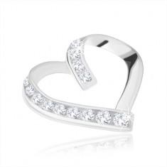 Šperky eshop - Prívesok, striebro 925, asymetrický obrys srdca, hladká a zirkónová línia SP70.31