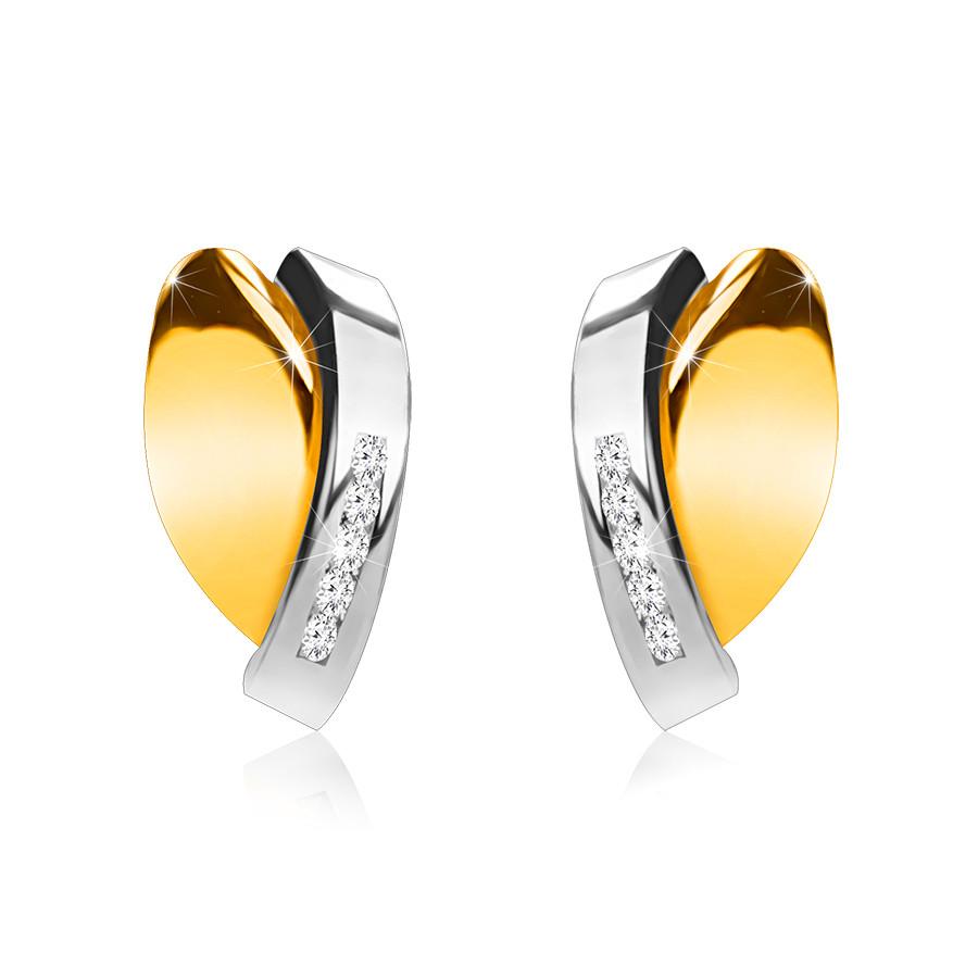 Puzetové náušnice z 9K zlata - dvojfarebné prelínajúce sa oblúčiky, zirkóny