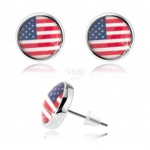 Kabošon náušnice, vypuklá glazúra, motív americkej vlajky