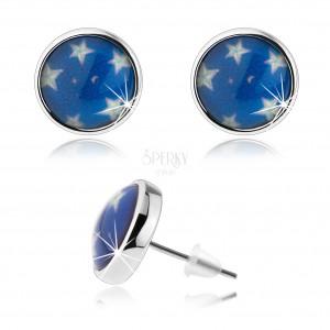 Náušnice cabochon, číra glazúra, biele hviezdy, modrý podklad, puzetky