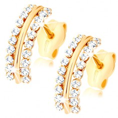 Šperky eshop - Náušnice zo žltého 9K zlata - lesklý oblúčik s trblietavými okrajmi GG79.13
