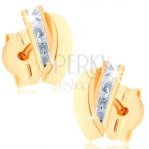 Puzetové náušnice zo žltého 9K zlata - pásik čírych zirkónov, lesklý oblúk