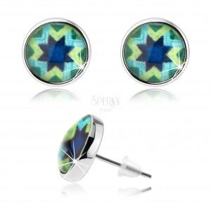 Náušnice, štýl kabošon, glazúra, strieborná farba, modrá hviezda