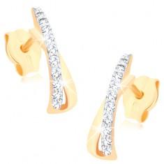 Šperky eshop - Zlaté náušnice 375 - ligotavá slučka zahnutá do oblúka, číre zirkóniky GG78.11