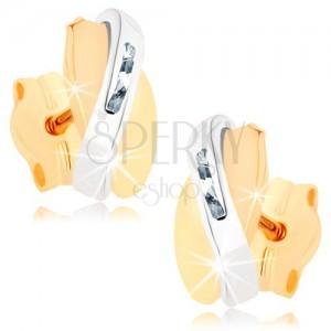 Dvojfarebné náušnice v 9K zlate - prekrývajúce sa oblúčiky, číre zirkóniky