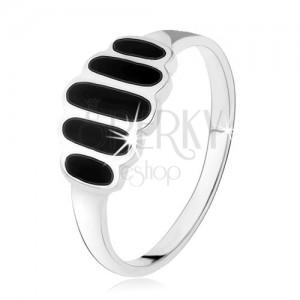 Strieborný 925 prsteň, čierne ónyxové ovály, hladké ramená, vysoký lesk