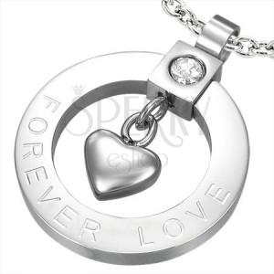 Oceľový prívesok srdiečko a zirkón - FOREVER LOVE