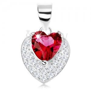 Prívesok zo striebra 925, trblietavé vypuklé srdiečko, červený srdcový zirkón