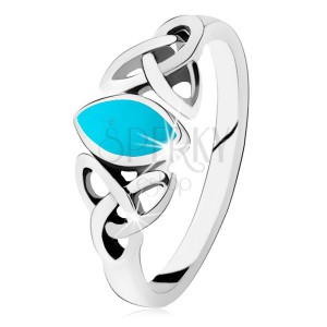Strieborný 925 prsteň, tyrkysové zrnko, prepojené obrysy oválov