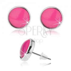 Okrúhle puzetové náušnice, priehľadné vypuklé sklo ružovej farby, kabošon