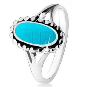 Strieborný prsteň 925, ovál z tyrkysu, kontúra z guličiek, rozdelené ramená