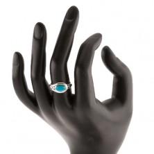 Strieborný prsteň 925, tyrkysový ovál, lesklý okraj, tri guľôčky