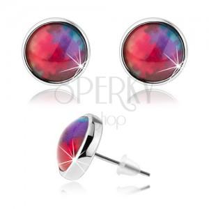 Puzetové náušnice kabošon, priehľadné vypuklé sklo, farebné puzzle