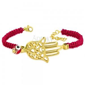 Pletený červený náramok s oceľovým príveskom zlatej farby - ruka Fatimy