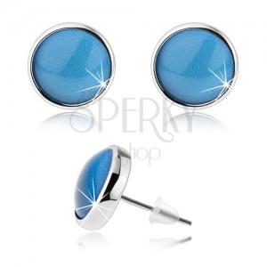 Náušnice v štýle kabošon, vypuklé sklo, modrá farba, puzetky