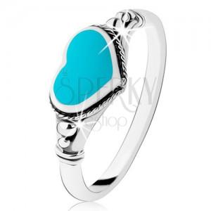 Strieborný prsteň 925, patinovaný, srdiečko z tyrkysu, guličky