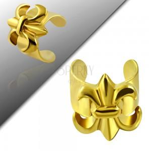 Fake piercing do ucha z ocele 316L, zlatá farba, Fleur de Lis