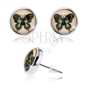 Okrúhle kabošon náušnice, vypuklé sklo, zeleno-čierny motýľ, puzetky
