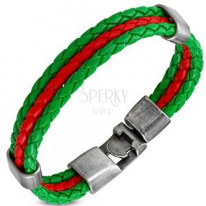 Náramok v zeleno-červenej kombinácii, umelá koža, pohyblivé ovály z ocele