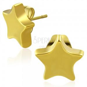 Tungstenové puzetové náušnice, zlatá farba, lesklá päťcípa hviezda