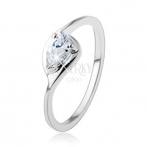 Strieborný prsteň 925, tenké ramená, číra zirkónová kvapka, lesklý obrys