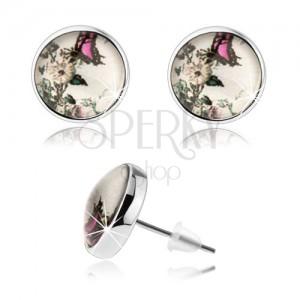 Okrúhle puzetové náušnice, číre vypuklé sklo, biely kvet, ružovo-čierny motýľ