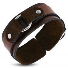 Hnedý kožený náramok dvojvrstvový s krúžkom