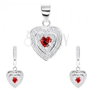 Strieborný set 925, prívesok a náušnice, zirkónové srdce, dvojitý ligotavý lem