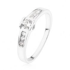 da4921f40 Šperky eshop - Zásnubný prsteň zo striebra 925, okrúhly číry zirkón,  srdiečka, zirkónová línia SP81.09 - Veľkosť: 49 mm