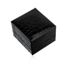 Šperky eshop - Darčeková krabička na prsteň alebo náušnice, čierna farba, krokodílí vzor U23.4